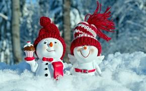 Picture snowmen, figure, congratulations, fun, funny, Christmas motif