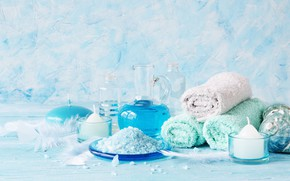 Picture glass, style, relax, liquid, candles, feathers, shell, still life, towels, blue, composition, bottle, salt, blue …