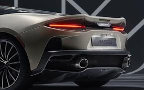 Picture lights, McLaren, supercar, rear view, MSO, 2019, McLaren GT, Defined Flux Silver