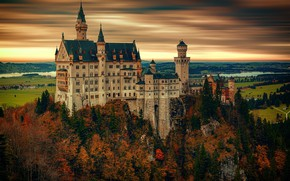 Wallpaper autumn, forest, the sky, clouds, trees, landscape, sunset, mountains, river, castle, overcast, rocks, height, treatment, ...
