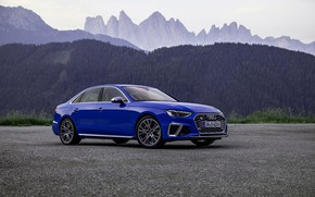 Picture blue, Audi, sedan, Audi A4, Audi S4, 2019, mountains in the background