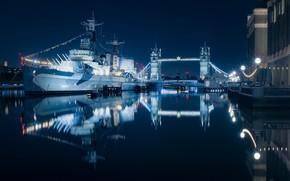 Picture light, night, bridge, the city, ship