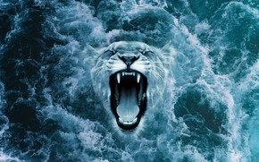 Picture wave, foam, fantasy, the ocean, grin, ocean, roar, throw, leon, roar, out of the water, …