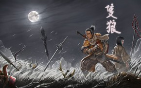 Picture the sky, night, the moon, sword, katana, warrior, the full moon, art, Wolf, shinobi, Shadows …