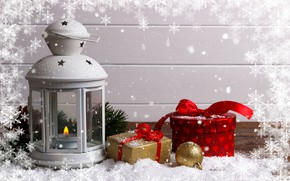 Picture winter, snow, decoration, New Year, Christmas, lantern, gifts, Christmas, winter, snow, Merry Christmas, gift, decoration, …