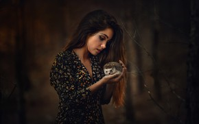 Picture girl, nature, hedgehog