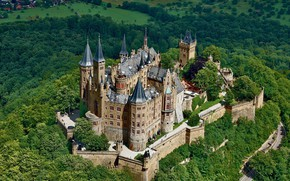 Picture trees, castle, Germany, Hohenzollern, Hohenzollern Castle
