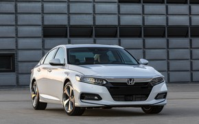Picture white, Honda, Accord, sedan, 2018, the wall, Touring, 2.0T, four-door