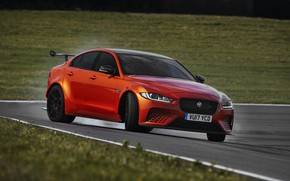 Picture asphalt, orange, lawn, Jaguar, 2017, XE SV Project 8
