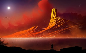 Picture The sun, Mountains, Mountain, People, Star, Silhouette, Ships, Landscape, Coast, Fiction, Transport, Kvacm, by Kvacm, …