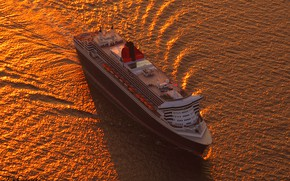 Picture sea, the evening, liner, cruise