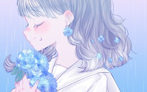 Picture flowers, girl, hydrangea