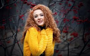 Picture autumn, smile, Girl, red, Kate, Rowan, Anna Shuvalova