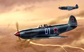 Wallpaper River, fighter, pair, frontline, Soviet, easy, The Yak-3, during the Second world war, the conquest ...