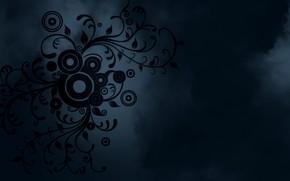 Picture circles, flowers, blue, patterns, smoke, minimalism
