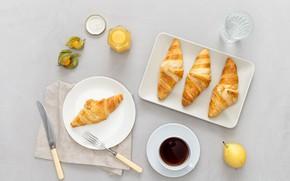 Picture coffee, Breakfast, croissants