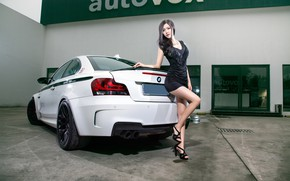Picture Girls, BMW, Asian, beautiful girl, white car, beautiful dress, vhglyad, posing on the car
