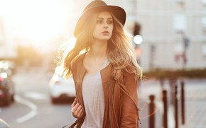 Picture girl, Model, long hair, hat, photo, bokeh, face, blonde, sunlight, urban, blurred, portrait, mouth, wavy …