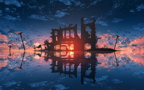 Picture water, sunset, ruins, power lines