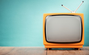 Picture orange, antenna, TV, blue background