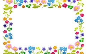 Picture flowers, frame, postcard, template, blank