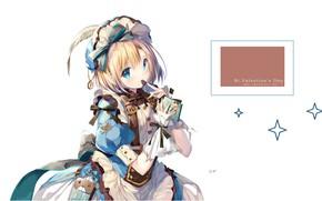 Picture chocolate, white background, handbag, bows, blue eyes, cap, ruffles, valentine`s day, crinoline, by Shimesaba Kohada
