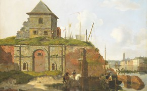 Picture oil, the urban landscape, 1830, Carel Jacobus Behr, Town wall with gunpowder warehouse, CAREL Jacobus …