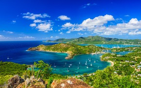 Picture sea, Islands, yachts, Caribbean, Antigua and Barbuda