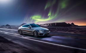 Picture rendering, Mercedes-Benz, speed, Northern lights, AMG, C63, CGI, C-Class