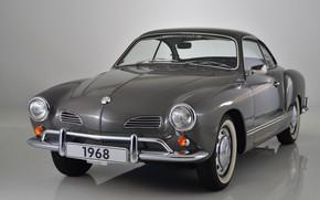 Wallpaper grey, background, Volkswagen, 1968, Karmann Ghia