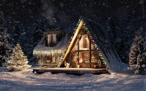 Picture light, snow, lights, house, ate