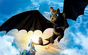 Picture dragon, flight, guy, black lightning, Toothless, characters, How to Train Your Dragon: The Hidden World