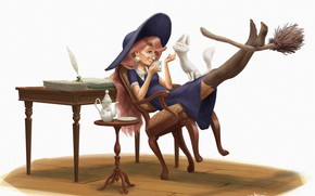 Picture cat, the tea party, witch, broom