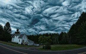 Wallpaper The sky, Nature, Clouds, Forest, House, Clouds, Overcast, Clouds Asperatus, Asperitas, Asperatus