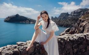 Picture look, girl, pose, rocks, white dress, Crimea, The black sea, Sergey Nibic