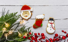 Picture decoration, New Year, cookies, Christmas, Christmas, wood, New Year, cookies, decoration, gingerbread, gingerbread, Merry, fir ...