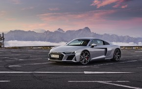 Picture sunset, mountains, Audi, Parking, supercar, Audi R8, Coupe, V10, 2020, RWD
