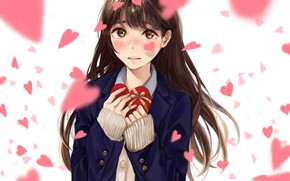 Picture girl, candy, hearts, embarrassment, Valentine's day