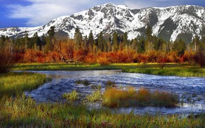 Picture water, snow, mountains, nature, lake, the landscape