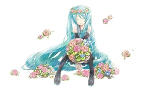 Picture white background, vocaloid, sitting, Hatsune Miku, Vocaloid, blue hair, pink roses, closed eyes, black stockings, …