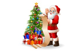 Picture Christmas, gifts, white background, New year, tree, list, Santa Claus