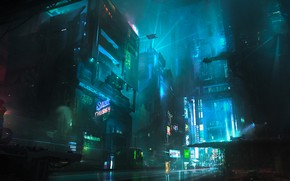 Wallpaper Night, The city, Future, Fiction, Neon, Cyberpunk, Cyberpunk, Neon, Chris Ostrowski, Block 7F-2, by Chris ...