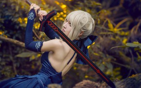 Picture forest, look, leaves, girl, blue, nature, face, style, the dark background, weapons, back, portrait, sword, …