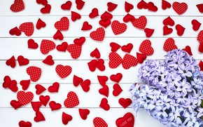 Picture love, flowers, bouquet, hearts, love, wood, flowers, lilac, romantic, hearts, valentine's day, spring, lilac