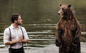 Picture water, meeting, the situation, bear, guy, stand