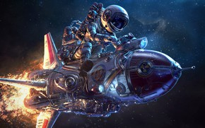 Picture Retrofuturist, flight, camera, astronaut, flame