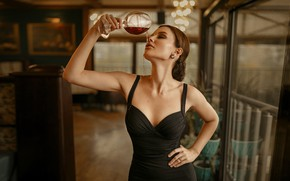 Picture girl, pose, wine, glass, dress, brown hair, Ivan Kovalev