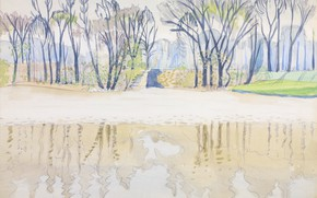 Picture Cleveland, 1916, Charles Ephraim Burchfield, Wade Park, Pond in Spring