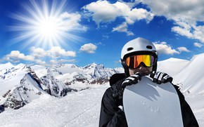 Picture winter, the sky, the sun, clouds, rays, snow, mountains, background, snowboard, photoshop, glasses, jacket, gloves, …
