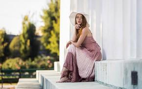 Picture look, girl, model, hat, dress, Nastya